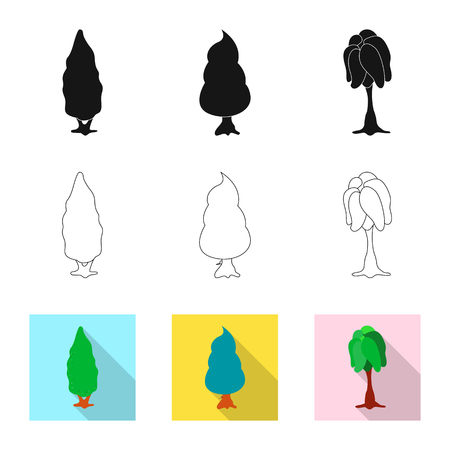 Vector illustration of tree and nature icon. Collection of tree and crown stock symbol for web.