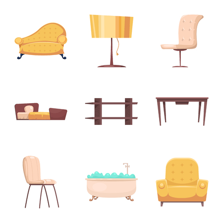 Vector design of furniture and apartment logo. Collection of furniture and home stock symbol for web. Ilustração
