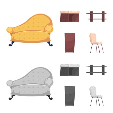 Isolated object of furniture and apartment logo. Set of furniture and home stock vector illustration.