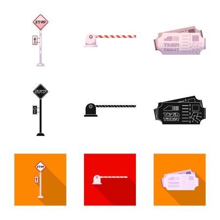 駅と駅のシンボルのベクトル設計。●列車とチケットのストックベクトルイラストのセット。