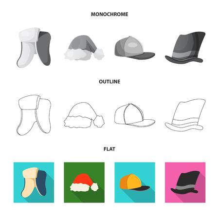 Vector design of headwear and cap symbol. Collection of headwear and accessory stock symbol for web. Illustration