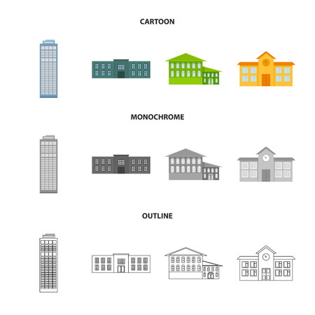 Skyscraper, police, hotel, school.Building set collection icons in cartoon,outline,monochrome style vector symbol stock illustration web. Illustration
