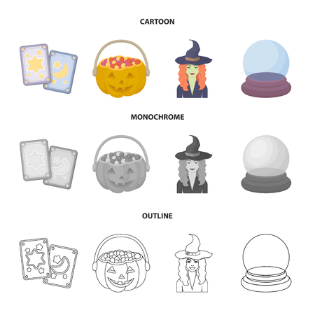Tarot cards, holiday halloween, magician in a hat, crystal ball. Black and white magic set collection icons in cartoon,outline,monochrome style vector symbol stock illustration web.