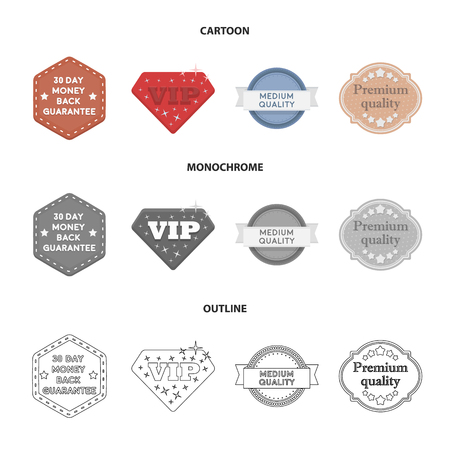 Money back guarantee, vip, medium quality,premium quality.Label,set collection icons in cartoon,outline,monochrome style vector symbol stock illustration web.