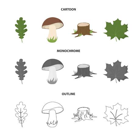Oak leaf, mushroom, stump, maple leaf.Forest set collection icons in cartoon,outline,monochrome style vector symbol stock illustration web.