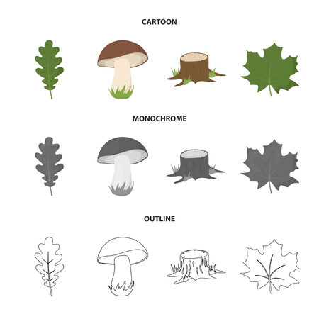 Oak leaf, mushroom, stump, maple leaf.Forest set collection icons in cartoon,outline,monochrome style vector symbol stock illustration web.