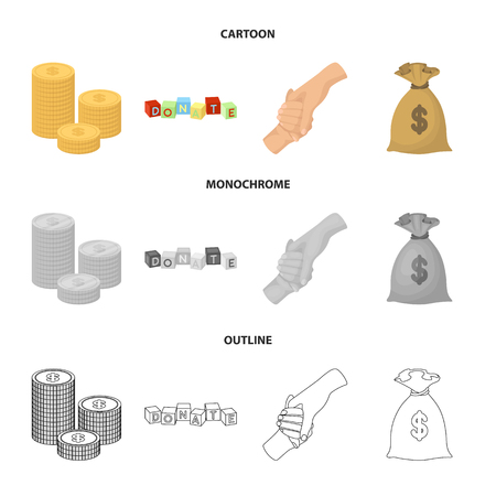 A pile of coins for donations, colored cubes with an inscription, a handshake, a bag of money for donations. Charity and donation set collection icons in cartoon,outline,monochrome style vector symbol stock illustration web. Illustration