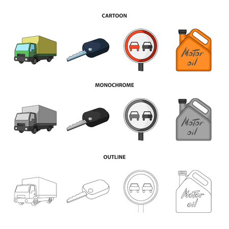 Truck with awning, ignition key, prohibitory sign, engine oil in canister, Vehicle set collection icons in cartoon,outline,monochrome style vector symbol stock illustration web.