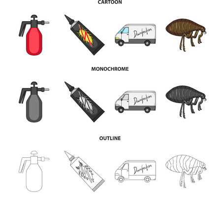 Flea, special car and equipment cartoon,outline,monochrome icons in set collection for design. Pest Control Service vector symbol stock web illustration.