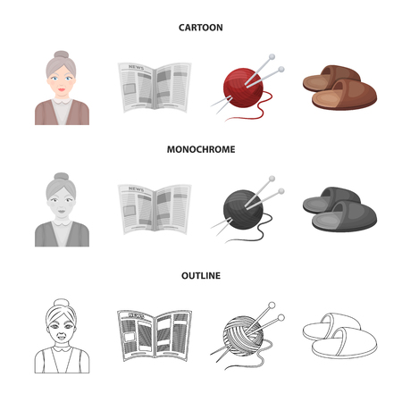 An elderly woman, slippers, a newspaper, knitting.Old age set collection icons in cartoon,outline,monochrome style vector symbol stock illustration web.