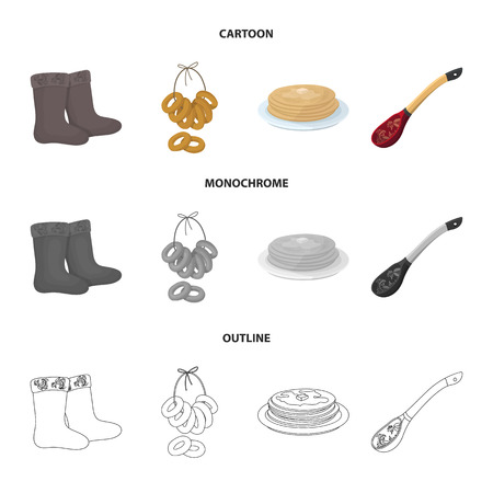 Felt, boots, drying, gingerbread .Russia country set collection icons in cartoon,outline,monochrome style vector symbol stock illustration web.