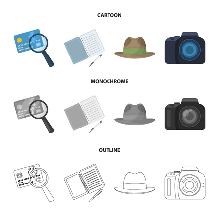 Camera, magnifier, hat, notebook with pen.Detective set collection icons in cartoon,outline,monochrome style vector symbol stock illustration web. Illustration