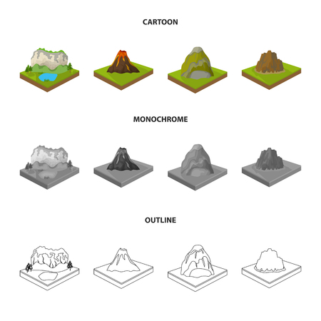 Mountains, rocks and landscape. Relief and mountains set collection icons in cartoon,outline,monochrome style isometric vector symbol stock illustration web.