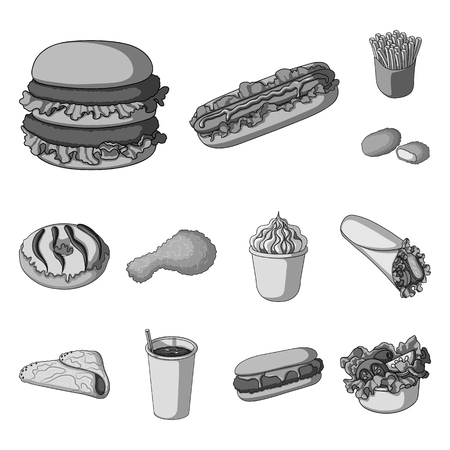 Fast food monochrome icons in set collection for design.Food from semi-finished products vector symbol stock web illustration.
