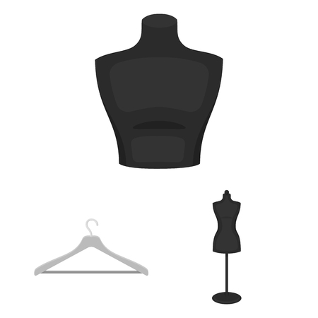 Atelier and sewing monochrome icons in set collection for design. Equipment and tools for sewing vector symbol stock web illustration. Banque d'images - 107444802