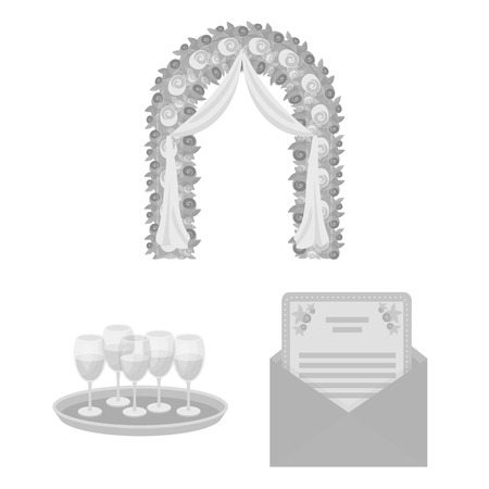 Event Organisation monochrome icons in set collection for design.Celebration and Attributes vector symbol stock web illustration. Illustration