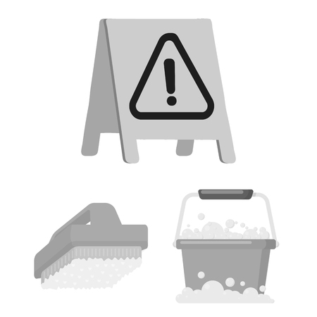 Cleaning and maid monochrome icons in set collection for design. Equipment for cleaning vector symbol stock web illustration. Imagens - 107444873