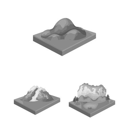 Montañas, iconos monocromos masivos de colección set de diseño. La superficie de la tierra vector símbolo isométrico stock web ilustración.