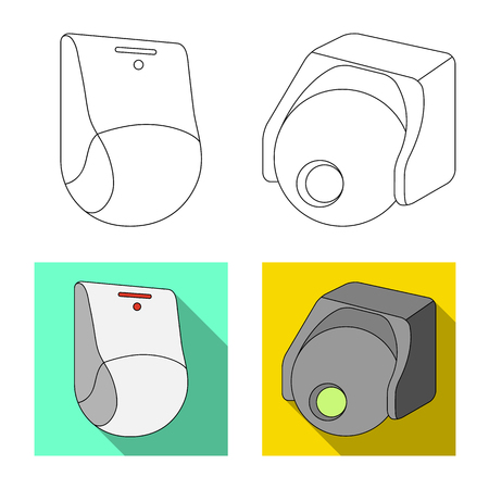 Vector illustration of cctv and camera icon. Collection of cctv and system vector icon for stock.