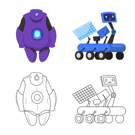 Vector design of robot and factory icon. Collection of robot and space vector icon for stock.