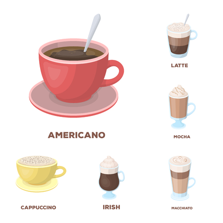 Different kinds of coffee cartoon icons in set collection for design. Coffee drink vector symbol stock web illustration.