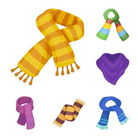 Scarf and Shawl cartoon icons in set collection for design.Clothes and Accessory vector symbol stock web illustration.