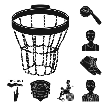 Basketball and attributes black icons in set collection for design.Basketball player and equipment vector symbol stock web illustration. 일러스트
