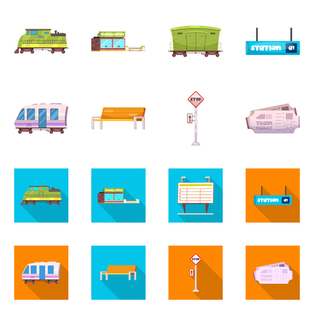 Isolated object of train and station icon. Collection of train and ticket vector icon for stock.