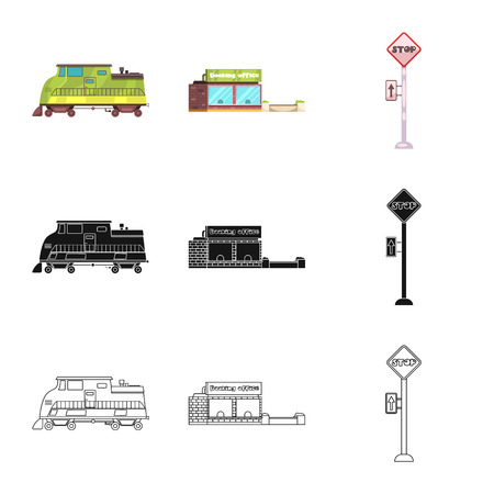 Vector illustration of train and station symbol. Set of train and ticket vector icon for stock.