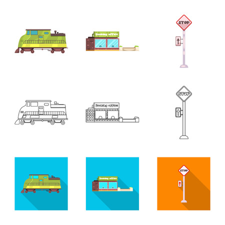 Vector design of train and station icon. Set of train and ticket stock symbol for web.  イラスト・ベクター素材