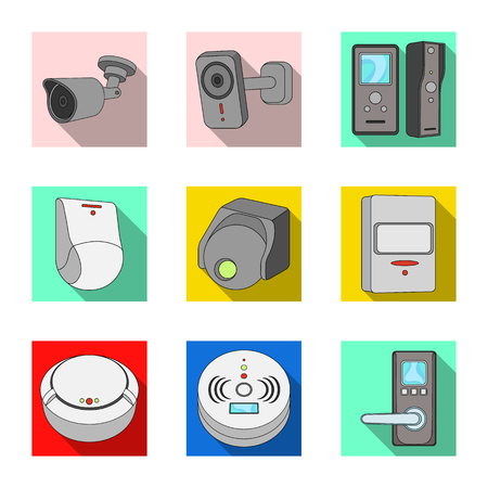 Vector illustration of cctv and camera icon. Set of cctv and system vector icon for stock.