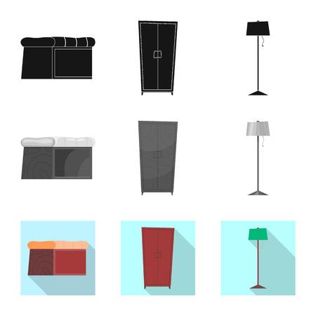 Vector illustration of furniture and apartment logo. Collection of furniture and home stock symbol for web. Ilustração