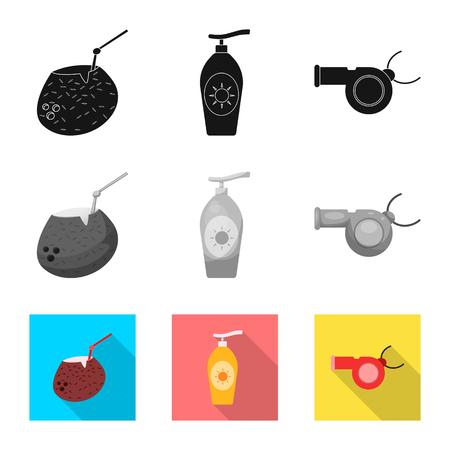 Objeto aislado del símbolo de piscina y natación. Colección de ilustración de vector stock piscina y actividad.