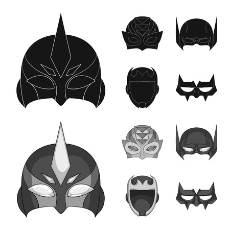 Isolated object of hero and mask sign. Collection of hero and superhero stock vector illustration. Illustration