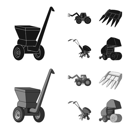 Motoblock and other agricultural devices. Agricultural machinery set collection icons in black,monochrome style vector symbol stock illustration web.