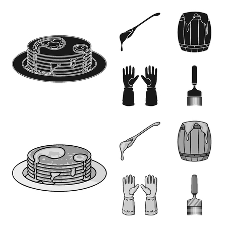A spoon of honey, protective gloves, a barrel of honey, a fork.Apiary set collection icons in black,monochrome style vector symbol stock illustration web.