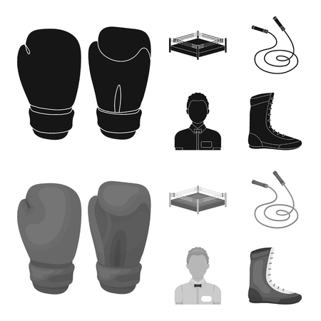 Ring, rope, referee, sneakers Boxing set collection icons in black,monochrome style vector symbol stock illustration web. Ilustração