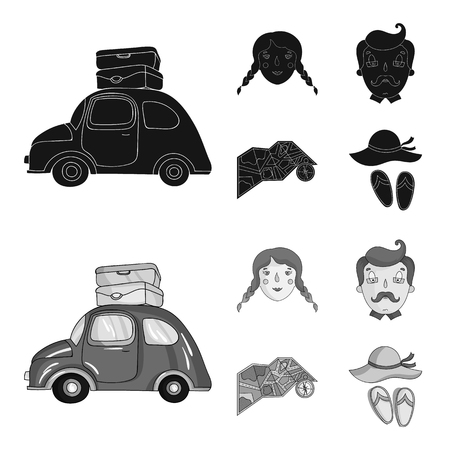 Travel, vacation, camping, map .Family holiday set collection icons in black,monochrome style vector symbol stock illustration web. 向量圖像