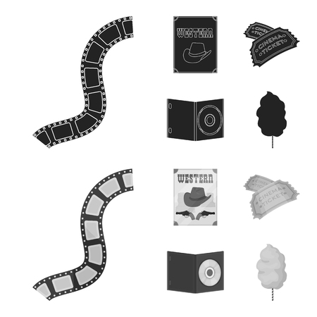 Western cinema, tickets, sweet cotton wool, film on DVD.Filmy and cinema set collection icons in black,monochrome style vector symbol stock illustration web. Иллюстрация