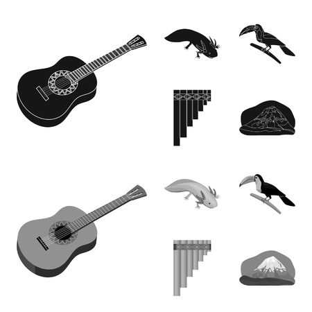 Sampono Mexican musical instrument, a bird with a long beak, Orizaba is the highest mountain in Mexico, axolotl is a rare animal. Mexico country set collection icons in black,monochrome style vector symbol stock illustration web. Illustration