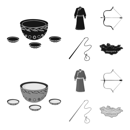 .mongol dressing gown, battle bow, theria on the map, Urga, Khlyst. Mongolia set collection icons in black,monochrome style vector symbol stock illustration web.