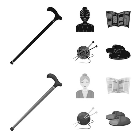 An elderly woman, slippers, a newspaper, knitting.Old age set collection icons in black,monochrome style vector symbol stock illustration web.