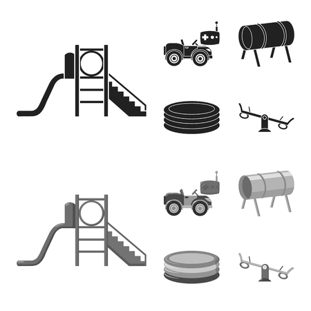 Machine for radio control, tunnel, trampoline, swing. Playground set collection icons in black,monochrome style vector symbol stock illustration web. Stock Illustratie