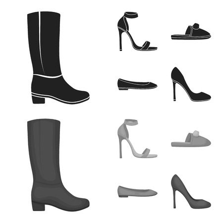 Blue high-heeled sandals, homemade lilac slippers with a pampon, pink women s ballet flats, brown high-heeled shoes. Shoes set collection icons in black,monochrome style vector symbol stock illustration web. Illustration