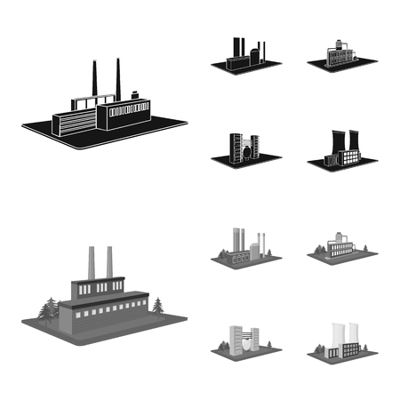 Processing factory,metallurgical plant. Factory and industry set collection icons in black,monochrome style isometric vector symbol stock illustration web.