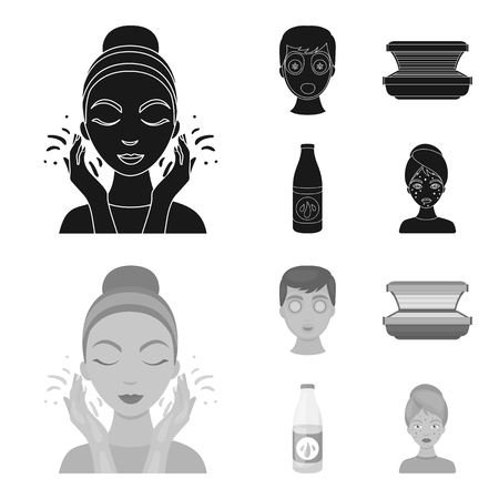 Face mask, solarium, bottle ts lasenom, pimples on face. Skin Care set collection icons in black,monochrome style vector symbol stock illustration web.