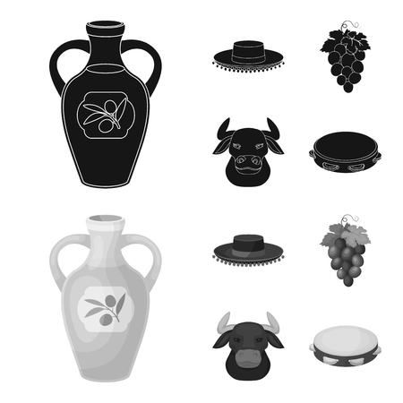 The hat of the todeador, the matador, a bunch of grapes with fists, a bull for the Spanish bullfight, a tambourine. Spain country set collection icons in black,monochrome style vector symbol stock illustration web.