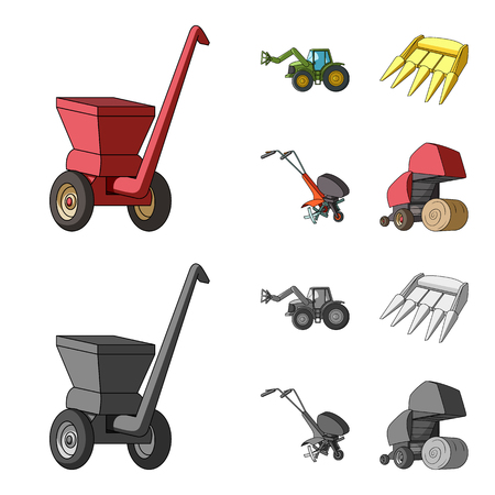 Motoblock and other agricultural devices. Agricultural machinery set collection icons in cartoon,monochrome style vector symbol stock illustration web. Illustration