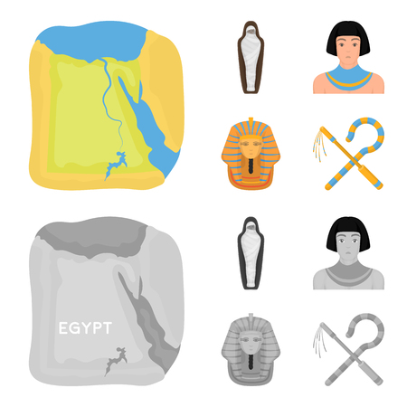 Crook and flail,a golden mask, an egyptian, a mummy in a tomb.Ancient Egypt set collection icons in cartoon,monochrome style vector symbol stock illustration web. Ilustração