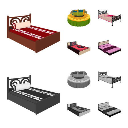 Different beds cartoon,monochrome icons in set collection for design. Furniture for sleeping vector isometric symbol stock web illustration.